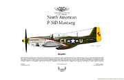 Usaaf Digital Art Posters - North American P-51D Mustang Gunfighter Poster by Arthur Eggers