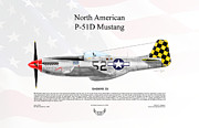 Air Wing Graphics Prints - North American P-51D Mustang Shimmy IV Print by Arthur Eggers