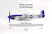 Slender Framed Prints - North American P-51D Mustang Slender Tender Tall Framed Print by Arthur Eggers