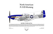 Air Wing Graphics Prints - North American P-51D Mustang Slender TenderTall Print by Arthur Eggers