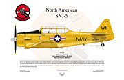 Warbirds Digital Art - North American SNJ-5 by Arthur Eggers