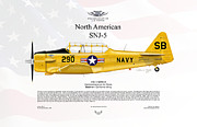 Usaf Framed Prints - North American SNJ-5 Harvard Texan Framed Print by Arthur Eggers