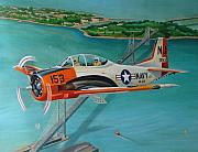 Bay Bridge Paintings - North American T-28 Trainer by Stuart Swartz