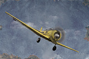 Antique Airplane Photos - North American T6 Vintage by Debra and Dave Vanderlaan