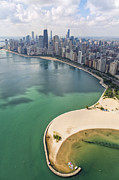 Helicopter Framed Prints - North Avenue Beach Chicago Aerial Framed Print by Adam Romanowicz