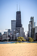 Lincoln Posters - North Avenue Beach with Chicago Skyline Poster by Paul Velgos