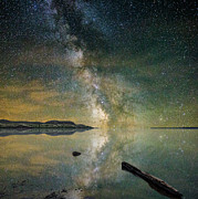 Greenish Posters - North Bend Milky Way Poster by Aaron J Groen