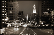 Hall Digital Art Prints - North Broad Facing City Hall Print by Bill Cannon