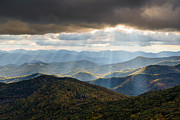 Crepuscular Rays Photos - North Carolina Blue Ridge Parkway Autumn NC Landscape by Dave Allen