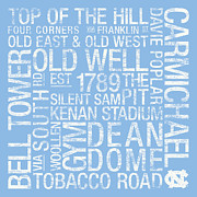 Universities Posters - North Carolina College Colors Subway Art Poster by Replay Photos