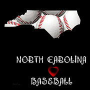 Abstract Map Posters - North Carolina Loves Baseball Poster by Andee Photography