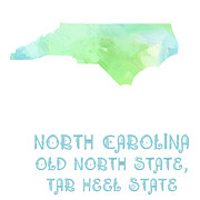 North Carolina Mixed Media Posters - North Carolina - Old North State - Tar Heel State - Map - State Phrase - Geology Poster by Andee Photography