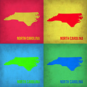 North Carolina Framed Prints - North Carolina Pop Art Map 1 Framed Print by Irina  March