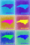 North Carolina Framed Prints - North Carolina Pop Art Map 2 Framed Print by Irina  March