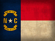 North Carolina State Flag Art On Worn Canvas Print by Design Turnpike