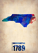 Modern Poster Metal Prints - North Carolina Watercolor Map Metal Print by Irina  March
