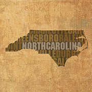 North Mixed Media Framed Prints - North Carolina Word Art State Map on Canvas Framed Print by Design Turnpike