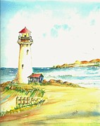 A Day At The Beach Framed Prints - North Coast Light house Framed Print by David Patrick