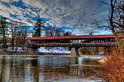 Saco River Framed Prints - North Conway Covered Bridge in Fall Framed Print by Lloyd Alexander