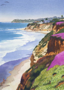 Surfing Paintings - North County Coastline by Mary Helmreich