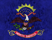 United States Map Digital Art - North Dakota Flag by World Art Prints And Designs