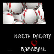 Abstract Map Posters - North Dakota Loves Baseball Poster by Andee Photography