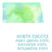 Abstract Map Prints - North Dakota - Peace Garden State - Flickertail State -  Roughrider - Map - State Phrase - Geology Print by Andee Photography