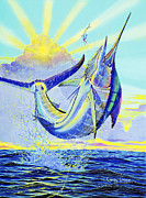 Striped Marlin Painting Framed Prints - North Drop Off00132 Framed Print by Carey Chen