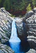 North Fork Painting Framed Prints - North Fork Falls Framed Print by Tom Joslin