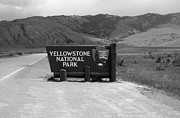 Yellowstone National Park Photos - North Gate Entrance Sign Yellowstone National Park Black and White by Shawn OBrien