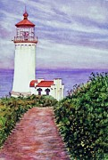 Nature Walks Paintings - North Head Light House on the Washington Coast by Cynthia Pride