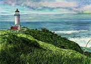 Nature Walks Paintings - North Head Lighthouse and Beyond by Cynthia Pride