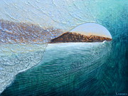 Surfing Art Painting Originals - North Peak Barrel by Nathan Ledyard