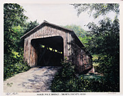 Covered Bridge Painting Metal Prints - North Pole Covered Bridge Brown County Ohio Metal Print by Rita Miller