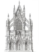 Pen And Ink Drawing Prints - North Portal Cologne Cathedral Germany Print by John Simlett