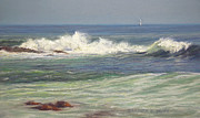 Scene Pastels Posters - North Shore Waves Poster by Barbara Groff