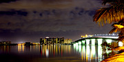Ringling Bridge Posters - North Side of Ringling Bridge at Night Poster by Grant Showalter