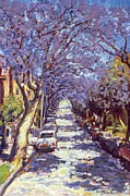 Cobblestone Painting Prints - North Sydney Jacaranda Print by Ted Blackall