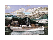 Yachts Drawings Prints - North to Alaska Print by Jack Pumphrey