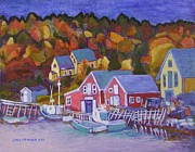 Homes Mixed Media Prints - North-West Cove Print by Janet Ashworth