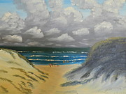Sand Dunes Paintings - North Windang Beach by Pamela  Meredith