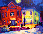 Saturated Paintings - Northampton Night scene by Caleb Colon