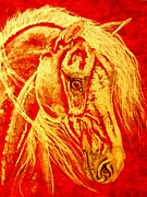 Wild Horse Drawings - Northern breeze 2 by Lucka SR