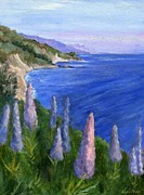 Lupines Paintings - Northern California Cliffs by Jamie Frier