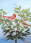 Ruth Housley Metal Prints - Northern Cardinals Mating Season SOLD Metal Print by Ruth  Housley