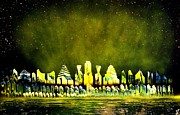 Spraypaint Painting Prints - Northern City Lights Print by Daniel