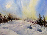 Snow Scene Paintings - Northern Light by Lynn Cheng-Varga