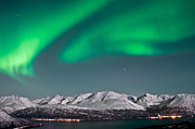 Pulsating Prints - Northern lights above fjords in Norway Print by Strahil Dimitrov