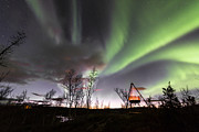 Northernlights Framed Prints - Northern lights and firepan- Norway Framed Print by Jan Inge Larsen