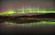 Northernlights Photos - Northern lights and River Bjuraga by Jan Inge Larsen